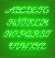 glowing green neon uppercase script font vector image vector image