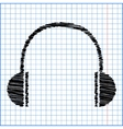 Headphones icon with pen effect on paper vector image