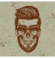 Hipster skull of human with sunglasses vector image