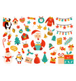 holiday set with cute characters vector image vector image