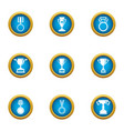 honorary badge icons set flat style vector image vector image