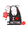 i love knitting sheep print with sign vector image vector image