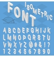 Isometric font alphabet with drop shadow on blue vector image vector image