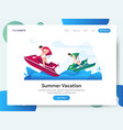 landing page summer vacation with jet ski vector image
