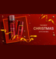 men cosmetics christmas gift bottles foam lotion vector image vector image