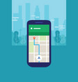 mobile phone navigation map into city screen smart vector image