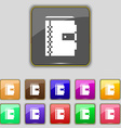 notebook icon sign Set with eleven colored buttons vector image