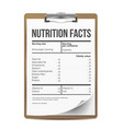 nutrition facts blank template serving vector image vector image