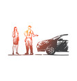 ordering delivery car service man concept vector image vector image