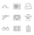 rap icon set outline style vector image vector image