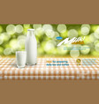 realistic 3d milk carton packing and glass vector image vector image