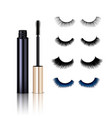 realistic false lashes mascara set vector image