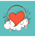 red heart and headphones vector image vector image