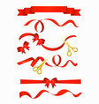 red ribbons with beautiful vector image vector image