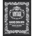 Retro vintage chalkboard floral border vector image vector image