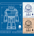 robot blueprint cartoon vector image vector image