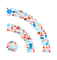RSS symbol with media icons texture vector image vector image