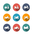 set flat icons motorcycles vector image vector image