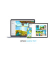 set laptop tablet and smartphone with beautiful vector image vector image