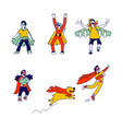 set little super hero kids wearing costumes and vector image