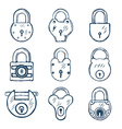 Set of Nine Padlocks vector image vector image