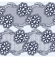 Set of seamless lace ribbons Black flowers on a vector image vector image