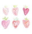 Set of strawberies - watercolor style vector image vector image