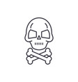 skull with bones line icon concept skull vector image vector image