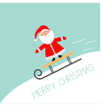 sleigh with santa claus rolling downhill motion vector image vector image