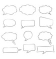 speech bubbles set doodle style hand drawn sketch vector image