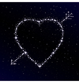 Starry heart pierced with arrow vector image vector image