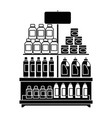 supermarket shelf with products vector image