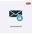 two color unlock envelope icon from user vector image vector image