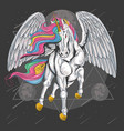 unicorn horse full colour with wings fly on sp vector image vector image