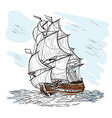 wind-driven ship vector image vector image