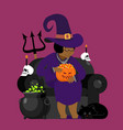 witch african american with black cat halloween vector image vector image