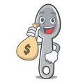 with money bag spoon character cartoon style vector image vector image
