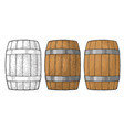 wooden barrel with metal hoops engraving vector image vector image