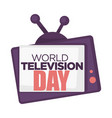 world television day isolated icon retro tv set vector image vector image