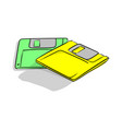 yellow and green floppy data storage diskette vector image vector image