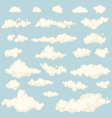 Set of blue sky clouds icon shape different vector image