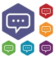 Talk rhombus icons vector image
