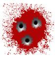bullet holes on red blood splatter background vector image vector image