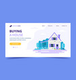 buying a house landing page template cute family vector image vector image