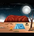 camping at desert scene vector image