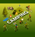 camping isometric flowchart vector image vector image