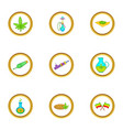 cannabis icon set cartoon style vector image vector image