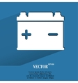 Car battery Flat modern web button with long vector image vector image