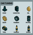 car tuning color outline isometric icons vector image