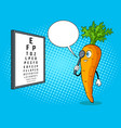 carrot check vision pop art vector image